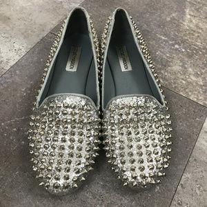 Steve Madden Full Studded Glitter Silver Loafers